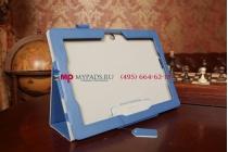 """Чехол-обложка для asus memo pad fhd 10 me302kl синий с визитницей и держателем для руки синий натуральная кожа """"prestige"""" италия"""