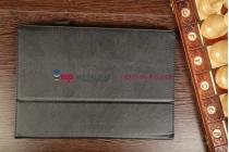 """Фирменный чехол-обложка для Asus MeMo Pad FHD 10 ME302/ME302KL с визитницей и держателем для руки черный натуральная кожа """"Prestige"""" Италия"""