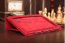 Фирменный чехол-обложка для Asus MeMo Pad Smart ME301T/ME301TG model K001 кожа крокодила красный