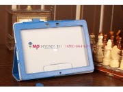 Чехол-обложка для Asus MeMo Pad Smart ME301T/ME301TG с визитницей и держателем для руки синий кожаный