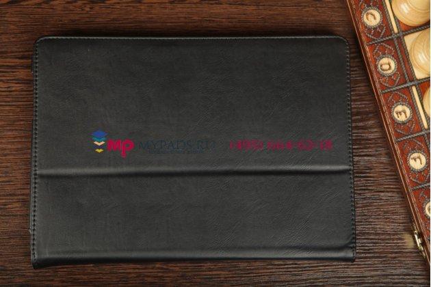 """Чехол-обложка для asus padfone infinity a80 с визитницей и держателем для руки черный натуральная кожа """"prestige"""" италия"""