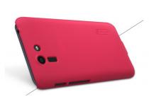 Фирменная задняя панель-крышка-накладка из тончайшего и прочного пластика для Asus Padfone S 5 PF500KL красная