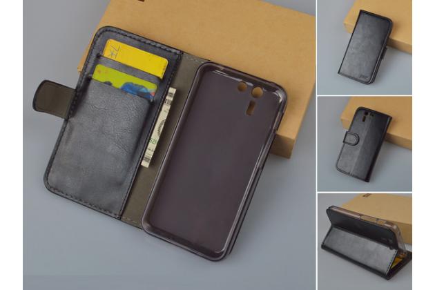 Чехол-книжка из качественной импортной кожи с мульти-подставкой застёжкой и визитницей для асус падфон с 5 пф500кл  черный