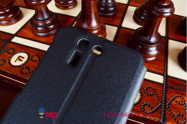 Чехол-книжка для asus padfone s5 черный кожаный с окошком для входящих вызовов