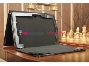 Фирменный чехол для Asus VivoTab TF810C/TF810CL черный с секцией под клавиатуру кожаный..