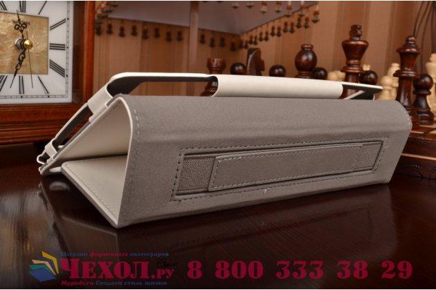 """Чехол бизнес класса для asus zenpad 8 z380c/z380kl с визитницей и держателем для руки белый натуральная кожа """"prestige"""" италия"""