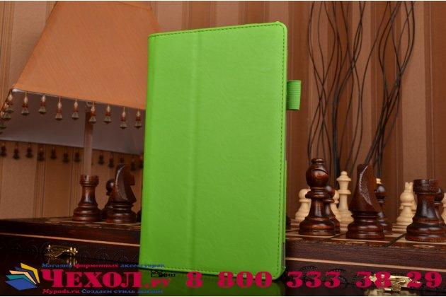 """Чехол бизнес класса для asus zenpad 8 z380c/z380kl z380knl с визитницей и держателем для руки зеленый натуральная кожа """"prestige"""" италия"""