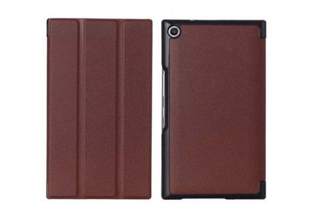"""Умный чехол самый тонкий в мире для планшета asus zenpad 8 дюймов z380c/z380kl """"il sottile"""" коричневый кожаный"""