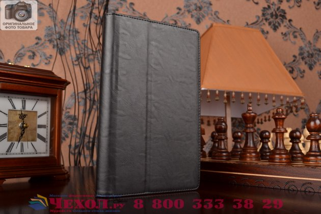 """Чехол обложка для asus zenpad 8 z380c/z380kl z380knl с визитницей и держателем для руки черный натуральная кожа """"prestige"""" италия"""