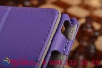 """Фирменный чехол бизнес класса для Asus ZenPad C 7.0 Z170C/Z170CG/Z170MG с визитницей и держателем для руки фиолетовый натуральная кожа """"Prestige"""" Италия"""