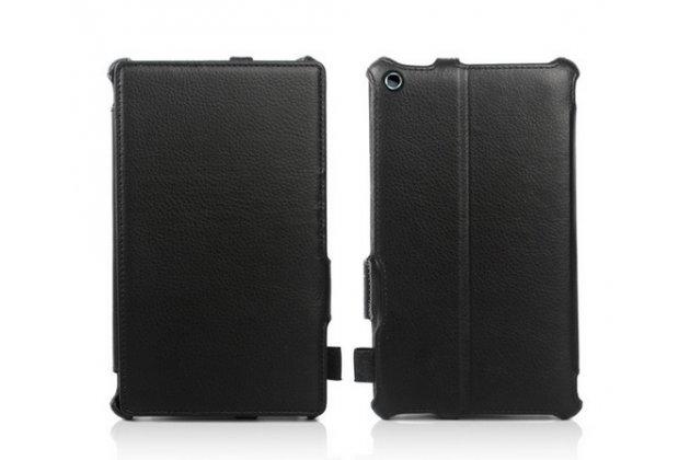 """Чехол для планшета asus zenpad c 7.0 z170c/z170cg/z170mg с мульти-подставкой и держателем для руки черный кожаный """"deluxe"""" италия"""