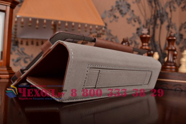 """Чехол бизнес класса для asus zenpad c 7.0 z170c/z170cg/z170mg с визитницей и держателем для руки коричневый натуральная кожа """"prestige"""" италия"""