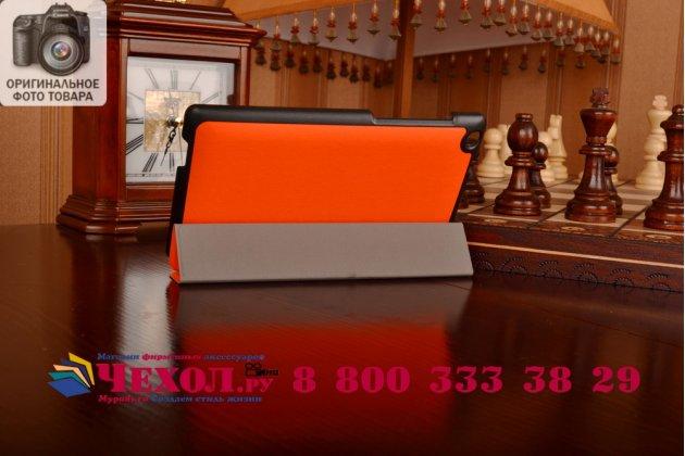 """Умный чехол-книжка самый тонкий в мире для asus zenpad c 7.0 z170c/z170cg/z170mg """"il sottile"""" оранжевый кожаный"""