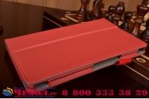 """Фирменный чехол бизнес класса для Asus ZenPad 8 Z380C/Z380KL с визитницей и держателем для руки красный натуральная кожа """"Prestige"""" Италия"""