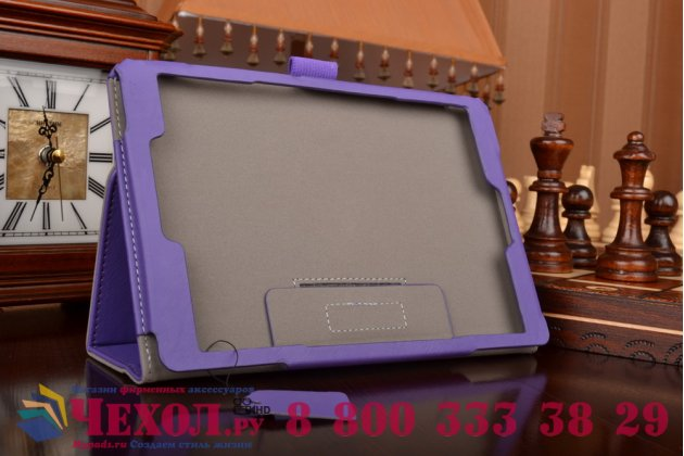 """Чехол бизнес класса для asus zenpad s 8.0 z580ca/z580c с визитницей и держателем для руки фиолетовый натуральная кожа """"prestige"""" италия"""