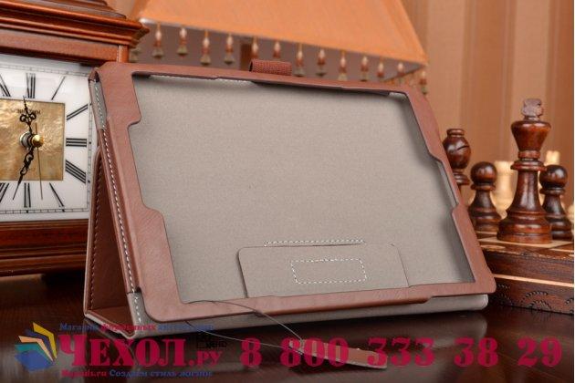"""Чехол бизнес класса для asus zenpad s 8.0 z580ca/z580c с визитницей и держателем для руки коричневый натуральная кожа """"prestige"""" италия"""