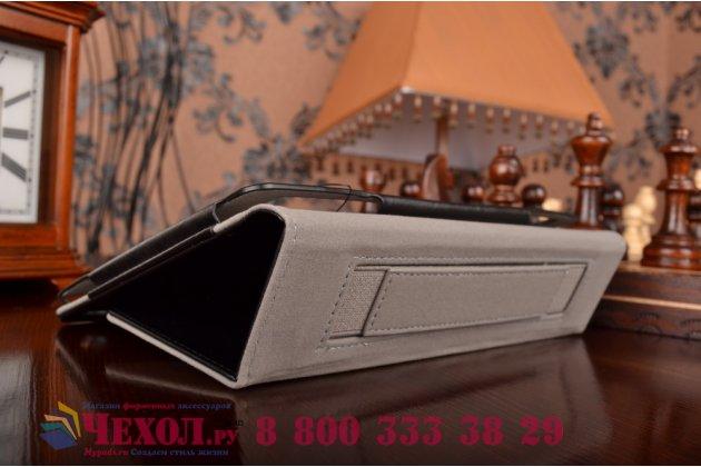 """Чехол обложка для asus zenpad s 8.0 z580ca/z580c с визитницей и держателем для руки черный натуральная кожа """"prestige"""" италия"""