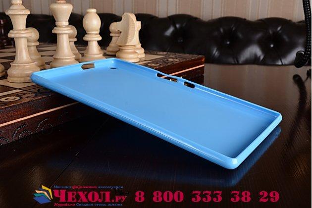 """Ультра-тонкая полимерная из мягкого качественного силикона задняя панель-чехол-накладка для asus zenpad 8.0 z380 z380kl z380c z380knl p024"""" голубая"""