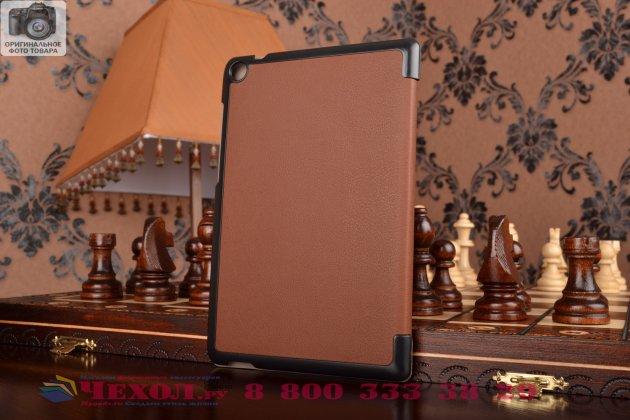 """Умный чехол самый тонкий в мире для планшета asus zenpad s 8.0 дюймов z580ca/z580c """"il sottile"""" коричневый кожаный"""
