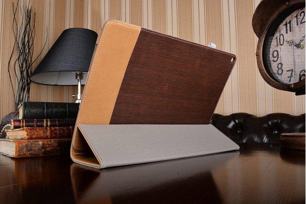 Уникальный необычный чехол-подставка для asus transformer 3 t305ca (gw014t) 12.6 коричневый кожаный с золотой полосой