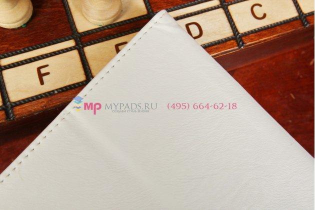 """Чехол-обложка для asus memo pad 10 me102a с визитницей и держателем для руки белый натуральная кожа """"prestige"""" италия"""