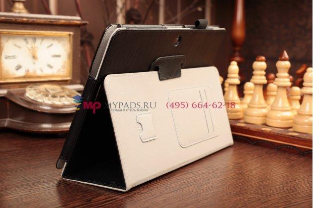 """Чехол-обложка для asus memo pad 10 me102a model k00f с визитницей и держателем для руки черный натуральная кожа """"prestige"""" италия"""
