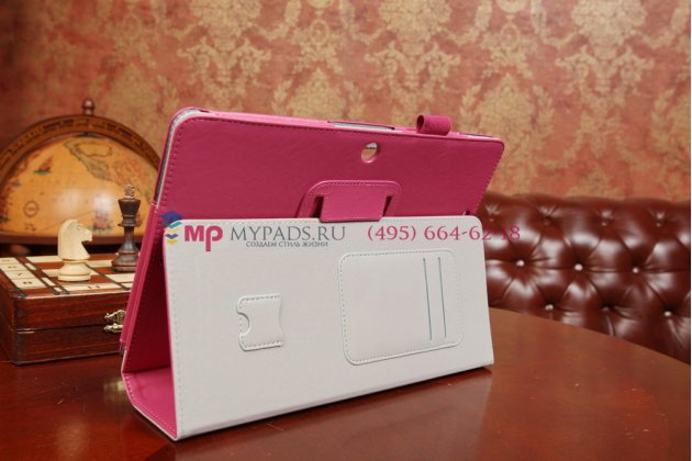 """Чехол-обложка для asus memo pad 10 me102a с визитницей и держателем для руки малиновый натуральная кожа """"prestige"""" италия"""