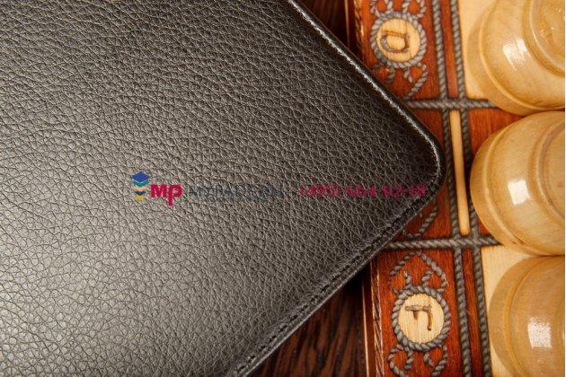 """Чехол открытого типа без рамки вокруг экрана с мульти-подставкой для asus memo pad 8 me180a model k00l черный натуральная кожа """"deluxe"""" италия"""