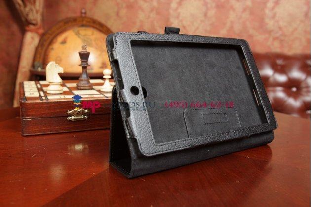 Чехол-обложка для asus memo pad 8 me180a черный кожаный