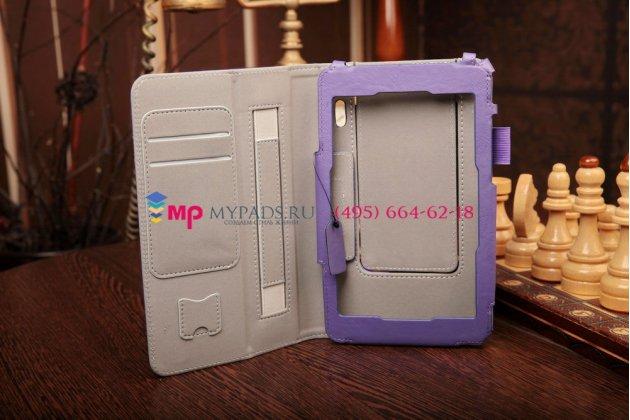 """Чехол-книжка для asus padfone mini с визитницей и держателем для руки фиолетовый натуральная кожа """"prestige"""" италия"""