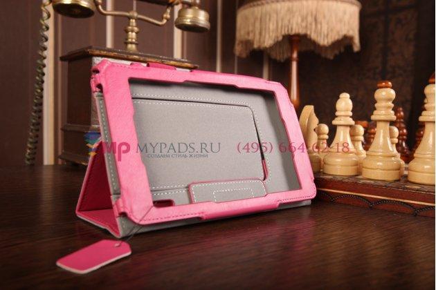 """Чехол-книжка для планшета asus padfone mini 4.3 с визитницей и держателем для руки малиновый натуральная кожа """"prestige"""" италия"""