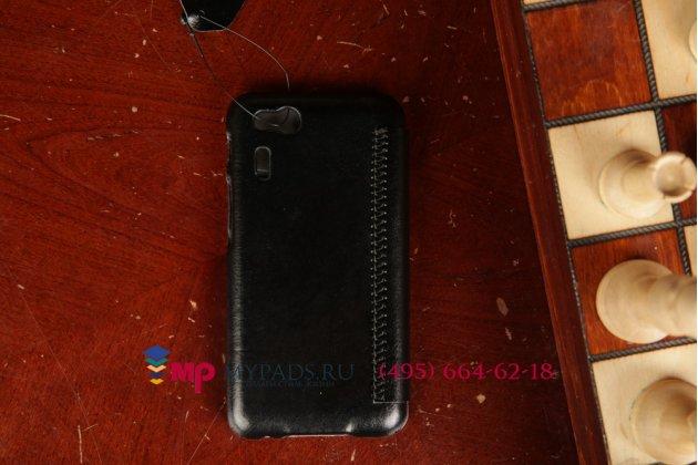 """Чехол-книжка для телефона asus padfone mini 4.3 черный натуральная кожа """"prestige"""" италия"""