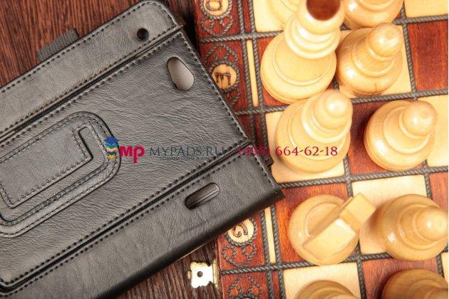 """Чехол-обложка для asus padfone mini с визитницей и держателем для руки черный натуральная кожа """"prestige"""" италия"""