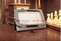 """Фирменный чехол-обложка для Asus Padfone Mini с визитницей и держателем для руки черный натуральная кожа """"Prestige"""" Италия"""