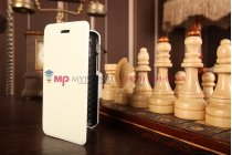 """Фирменный оригинальный чехол-книжка для телефона Asus Padfone Mini 4.3 белый натуральная кожа """"Prestige"""" Италия"""