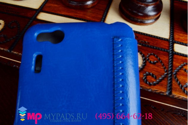 "Чехол-книжка для телефона asus padfone mini 4.3 синий натуральная кожа ""prestige"" италия"