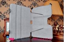 """Фирменный чехол для планшета Asus Padfone S P93L  9"""" с мульти-подставкой и держателем для руки черный кожаный """"Deluxe"""" Италия"""