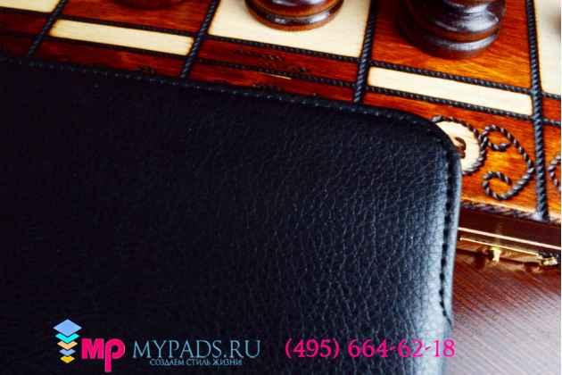 """Чехол для планшета asus padfone s p93l  9"""" с мульти-подставкой и держателем для руки черный кожаный """"deluxe"""" италия"""