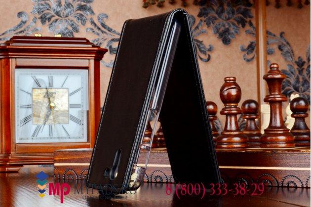 """Вертикальный откидной чехол-флип для asus padfone s 5 pf500kl черный кожаный """"prestige"""" италия"""