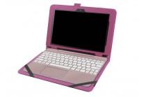 """Фирменный оригинальный чехол для Asus Transformer Book T101/T101HA"""" с отделением под клавиатуру фиолетовый кожаный"""