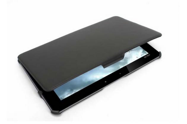 """Чехол открытого типа без рамки вокруг экрана с мульти-подставкой для asus transformer book t3 chi / t300 chi черный натуральная кожа """"deluxe"""" италия"""