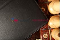 """Фирменный чехол бизнес класса для Asus Transformer Pad TF103CG K018 с визитницей и держателем для руки черный натуральная кожа """"Prestige"""" Италия"""