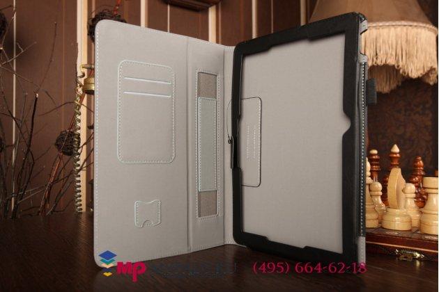 """Чехол бизнес класса для asus transformer pad tf103cg k018 с визитницей и держателем для руки черный натуральная кожа """"prestige"""" италия"""