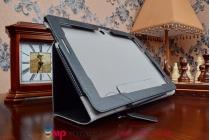 """Фирменный чехол бизнес класса для ASUS Transformer Pad TF303CL LTE K014 с визитницей и держателем для руки черный натуральная кожа """"Prestige"""" Италия"""