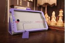 """Чехол-книжка для asus fonepad 7 fe170cg model k012 с визитницей и держателем для руки фиолетовый натуральная кожа """"prestige"""" италия"""