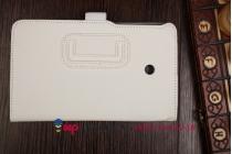 """Фирменный чехол-обложка для Asus Fonepad 7 FE170CG с визитницей и держателем для руки белый натуральная кожа """"Prestige"""" Италия"""