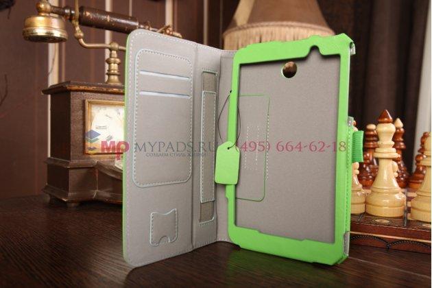 """Чехол-сумка для asus memo pad 7 hd me176cx model k013 с визитницей и держателем для руки зеленый натуральная кожа """"prestige"""" италия"""