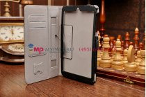 """Чехол бизнес класса для asus memo pad 7 hd me176cx k013 с визитницей и держателем для руки черный натуральная кожа """"prestige"""" италия"""