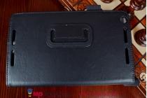 """Чехол обложка для asus memo pad 8 fhd me581cl model k015 с визитницей и держателем для руки черный натуральная кожа """"prestige"""" италия"""