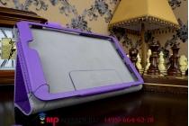 """Чехол бизнес класса для asus memo pad 8 fhd me581cl k015 с визитницей и держателем для руки фиолетовый натуральная кожа """"prestige"""" италия"""
